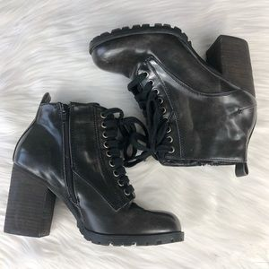 Steve Madden Andie Black Combat Chunky Heel Boots